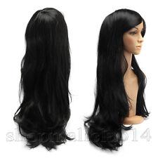70cm Gelock wie echt Haar Perücken Cosplay Haarersatz Langhaar Pony Wigs Schwarz