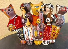 """CATS PLAYING MUSICAL INSTRUMENTS LG FIGURINE Hand Painted 9"""" L, 5 5/8"""" H CUTE!"""