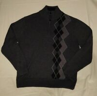 Tricots St. Raphael Argyle Mockl neck Pull-Over Winter Sweater Sz L quarter zip