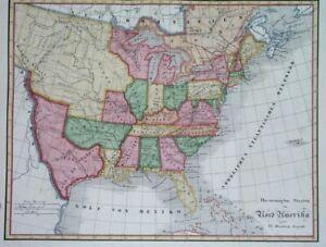 1839 ORIGINAL MAP TEXAS REPUBLIC UNITED STATES FLORIDA NEW YORK FLORIDA CANADA