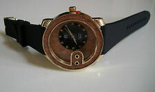 WOOD TRIM DIAL TECHNO PAVE  BLACK SILICONE BAND WITH GOLD FINISH FASHION WATCH