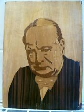 A VINTAGE HAND CRAFTED WOOD MARQUETRY CARICATURE OF A WW11 ERA WINSTON CHURCHILL