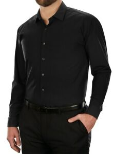 Unlisted Kenneth Cole Mens Dress Shirt Black Size 18 1/2 Big & Tall $65 069