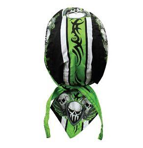 Green Stripe Skulls Bandana Biker Skull cap Doo rag Capsmith Du Week