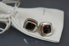 David Yurman 925 Sterling Silver Black ONYX Large11mm Albion Earrings Pre Owned