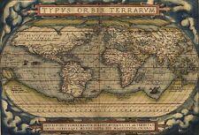 Typus Orbis Terrarum Vintage Stella Mundi Atlas Bilddruck alte Welt Antique Map