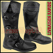 Bottes en cuir noir médiévale Re-enactment Mens Shoe Larp Role Play Costume