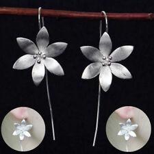 925 Silver Plated Long Drop Dangle Lotus Hook Earrings Ear Women Jewelry Gift