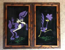 Vtg Looney Tunes Wile E Coyote Roadrunner Wood Framed Velvet Paintings 1970's