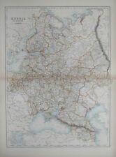 Original 1890 Map RUSSIA IN EUROPE Ukraine Poland Finland Crimea Caucasus Moscow
