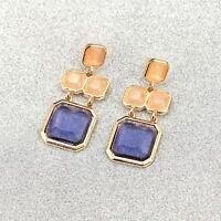 Earrings Golden Chandelier Square Beige Blue Purple Mauve Vintage DD10