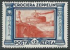 1933 REGNO POSTA AEREA ZEPPELIN 12 LIRE LUSSO MNH ** - IT