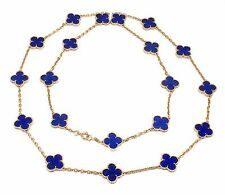 Rare Authentic Van Cleef & Arpels 18k Yellow Gold Lapis Alhambra Necklace Paper