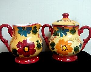 Vintage Oneida Kitchen 'Sunset Bouquet' Hand Painted Creamer Sugar Bowl w Lid