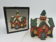 Porcelain Lighted House Church Figurine Christmas Holiday Decoration Chapel Used