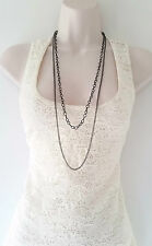 "Gorgeous 34"" long black & hematite double layered chain necklace, * NEW *"