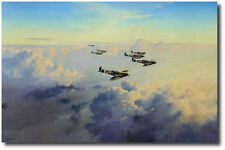 Bader's Bus Company by Robert Taylor - Signed by 3 Spitfire Pilots- Aviation Art