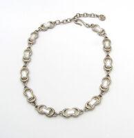 "Vintage Givenchy Silver Tone Rhinestone Necklace Adjustable Length 18"""