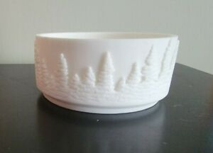 NEW BATH & BODY WORKS WHITE RESIN FOREST TREES LARGE 3 WICK CANDLE HOLDER 14.5OZ
