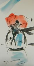 "JOSE TRUJILLO ORIGINAL Watercolor Painting SIGNED Small 3x6"" Red Flower Vase Art"