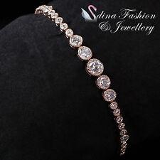 18K Rose Gold Filled Simulated Diamond Studded Round Cut Luxury Tennis Bracelet
