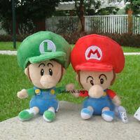 "2X Super Mario Bros Run Baby Mario And Baby Luigi Plush Toy Lovely Soft Doll 6"""