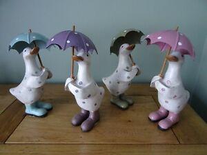 Duck Ornament Figurine Polka Dot With Brolly Shabby Chic Davids Ducks