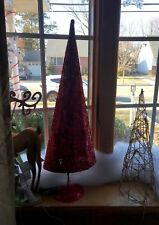 Red Lighted Glittered Tree Xmas Village Display Table Top Decor Window  Prop