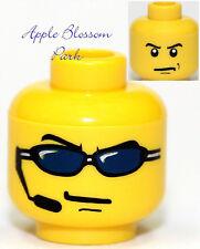 NEW Lego Male Police Agents MINIFIG HEAD - Boy w/Mic & Black Sun Glass Glasses