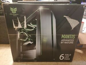 CUK Mantis Full ATX Tower Gaming Desktop Case with 6 Green Halo Fans Pre-Inst...