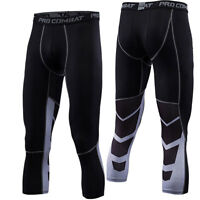 Mens Workout Athletic Compression 3/4 Pants Sports Cycling Running Cropped Pants