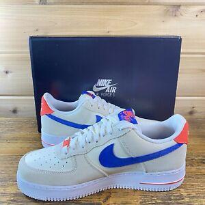 New Men's Nike Air Force 1 '07 LV8 Coconut Milk Royal Blue White DM8314-100