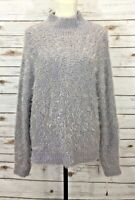 Trouve Women's Sweater M/L Pullover Fuzzy Mock Neck Long Sleeve Grey $88 NWT