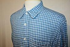 Tommy Bahama Indigo Palms 100% Linen Long Sleeve Shirt Blue Check Sz XL