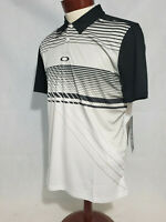 Oakley Superior Polo Mens Large Blackout White Golf Regular Fit Tee Shirt NWT
