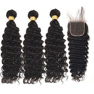 Premium Human Hair Deep  Wave 3 Bundles With  4*4 Free Part Lace Closure