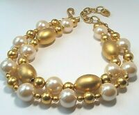 VINTAGE Designer Signed GIVENCHY Beaded Necklace CHUNKY 2 Tier Gold Pearl
