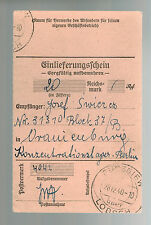 1940 Germany Oranienburg Concentration Camp money order Receipt KZ Josef Swieres