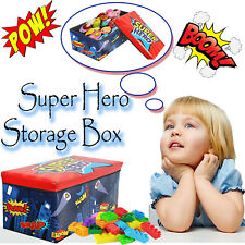 KIDS SUPER HERO TOY BOX GIRLS BOYS BOOKS HOLDER CHEST CLOTHES STORAGE STOOL LID