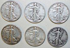 Lot of 12 Walking Liberty Silver Half Dollars Assorted Grades & Dates 1935-1945