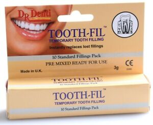 Dr Denti Tooth-Fil,Temporary Tooth Filling 10 Standard Fillings Pack, Pre-Mixed