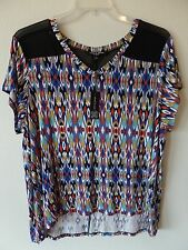 Cable & Gauge Womens 1X Geo Retro Viscose Spandex Mesh Nylon Blouse Shirt Top