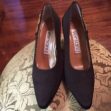 Versani Brown Canvas Pointy Pumps w/ Gold Accent - Size 6.5B