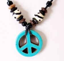 PEACE SIGN SYMBOL PENDANT BLUE STONE ADJUST BLACK CORD NECKLACE HIPPIE men women