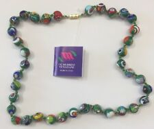 Murano Glass Millefiori 25 in. Long Necklace.hand blown glass-Italy*BIG BEADS*11