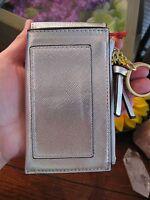 New Merona Silver Leather Look Credit Card Holder Tassel Change Purse w/Keychain