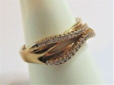 STERLING SILVER GOLD PLATED CUBIC ZIRCONIA SET WAVE RING SIZE  O