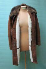 Klassischer Damen Lamm Fell Mantel ca 40/M braun shearling vintage Leder echt 1A