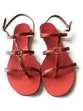 Salvatore Ferragamo Red Snakeskin Sandals Sz 10