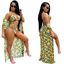 Women Sexy Summer Beach Fruit Print Swimwear Swimsuit Bikini With Cover Up 3pc